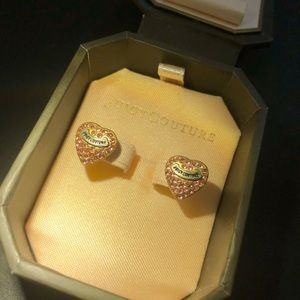 Juicy Couture Pink Pave Heart Earrings in box